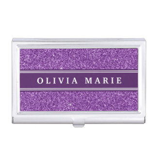 Purple Glitter (faux) Personalized Name Case For Business Cards