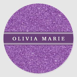 Purple Glitter (faux) Personalized Name Classic Round Sticker