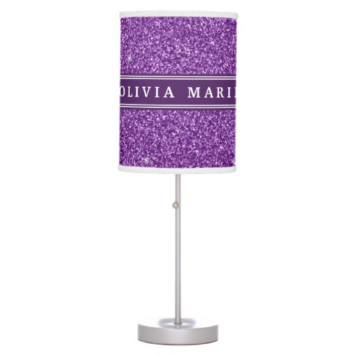Purple Glitter (faux) Personalized Name Desk Lamp