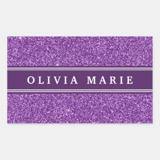 Purple Glitter (faux) Personalized Name Rectangular Sticker