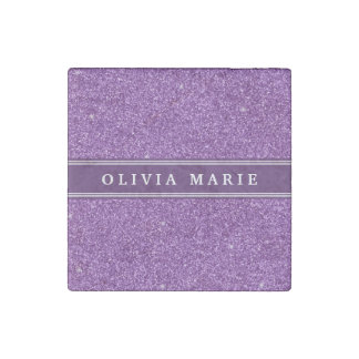 Purple Glitter (faux) Personalized Name Stone Magnet