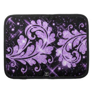 Purple Glitter Floral Swirl Folio Planners