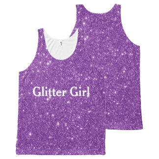 Purple Glitter Girl Show Your Sparkle All-Over-Print Tank Top