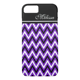 Purple Glitter Glam Black White Chevron Stripe iPhone 8/7 Case