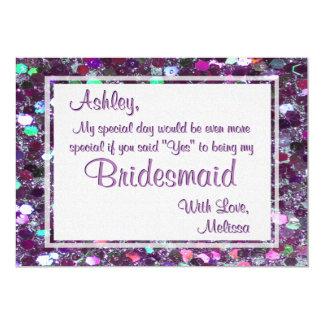 Purple Glitter Glam Will You Be My Bridesmaid 5x7 Paper Invitation Card