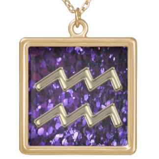 Purple Glitter Gold  Aquarius Zodiac Sign Necklace