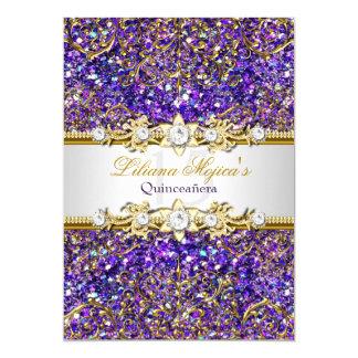 Purple Glitter & Gold Damask Quinceanera Invite