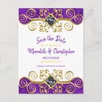 Purple Glitter Gold Gemstone Save the Date Announcement Postcard