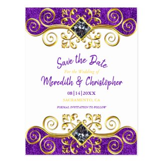 Purple Glitter Gold Gemstone Save the Date