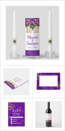 Purple Glitter Gold Gemstone Wedding Collection