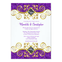 Purple Glitter Gold Gemstone Wedding Invitation