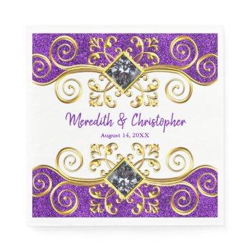 Purple Glitter Gold Swirls Jewel Wedding Napkin
