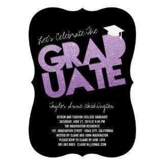 Purple Glitter Graduate Cutout Graduation Party Custom Announcement