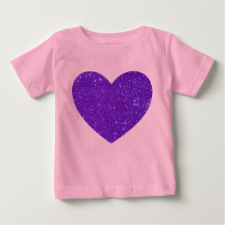 Purple Glitter Heart Pink Baby Toddler Shirt