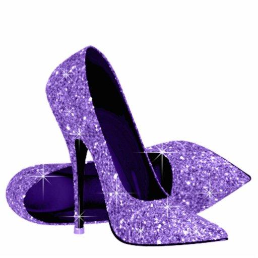 purple glitter high heel shoes acrylic cut out zazzle