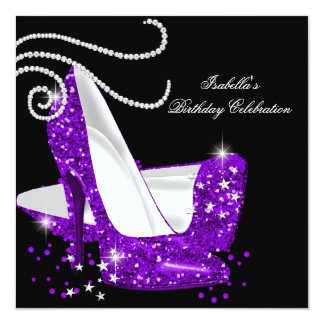 Purple Glitter High Heels Black Birthday Party Card