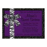 Purple Glitter Invite With Zebra Print Bow