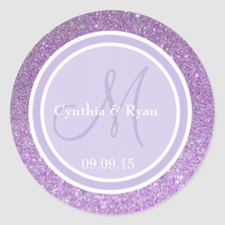 Purple Glitter & Lavender Wedding Monogram Classic Round Sticker