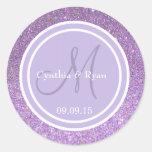 Purple Glitter & Lavender Wedding Monogram Classic Round Sticker