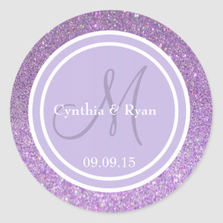 Purple Glitter & Lavender Wedding Monogram Round Stickers