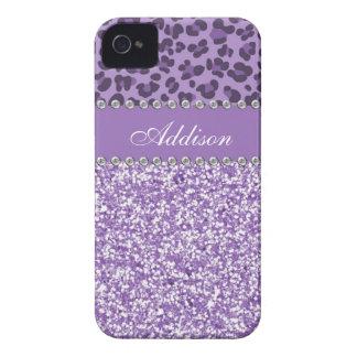 Purple Glitter Leopard Print Rhinestone Girly Case Case-Mate iPhone 4 Cases