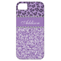 Purple Glitter Leopard Print Rhinestone Girly Case