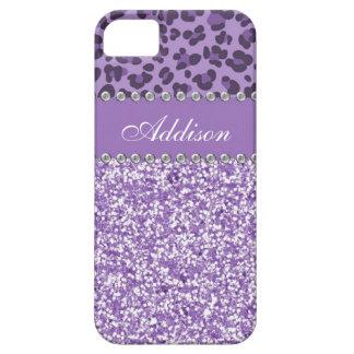 Purple Glitter Leopard Print Rhinestone Girly Case iPhone 5 Case