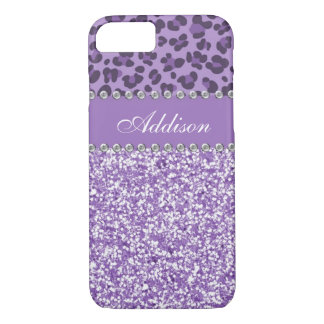 Purple Glitter Leopard Rhinestone Girly Case