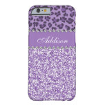 Purple Glitter Leopard Rhinestone Girly Case Barely There iPhone 6 Case
