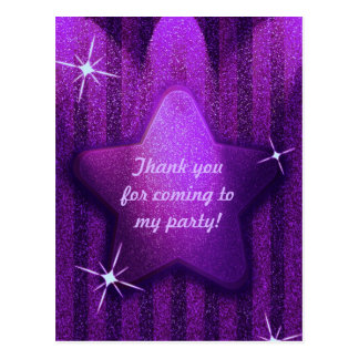 Purple Glitter-Like Star Birthday Thank You Cards