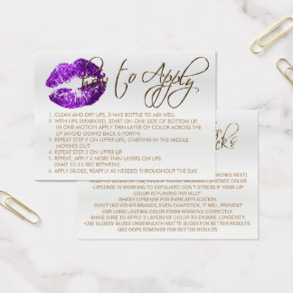 Purple Glitter Lips 2 - How to Apply Business Card