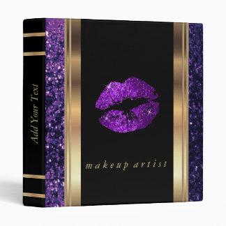 Purple Glitter Lips and Metallic Gold Binder