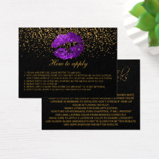 Purple Glitter Lips Application Instructions Business Card