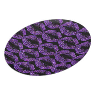 Purple Glitter Lips Dinner Plate