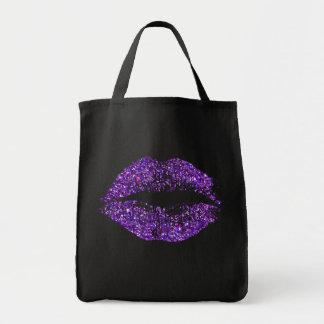 Purple Glitter Lips Tote Bag