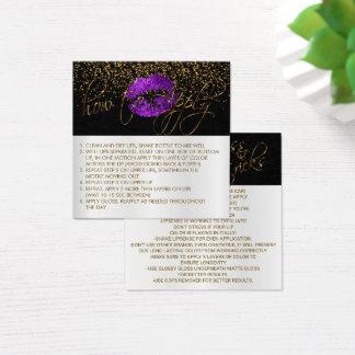Purple Glitter LipSense Application Instructions Square Business Card