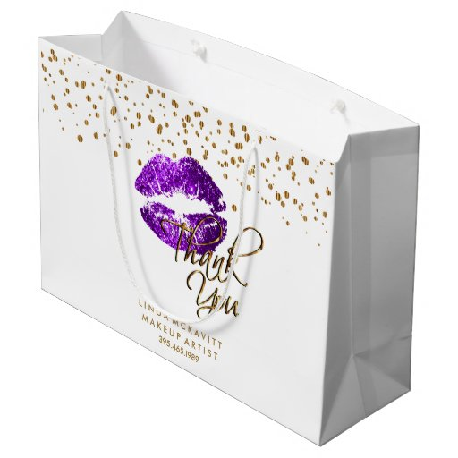 Purple Glitter Lipstick on White - Thank You Large Gift Bag