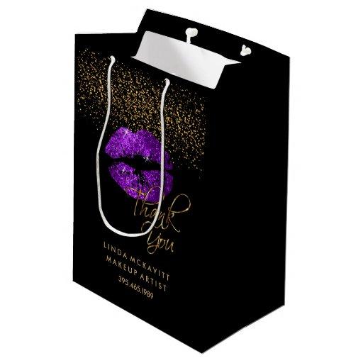 Purple Glitter Lipstick - Thank You Medium Gift Bag
