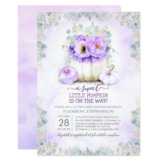 Purple Little Pumpkin Baby Shower Invitation Template Glitter Little Floral