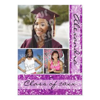 Purple Glitter-Look 3 Photo Graduation 5x7 Paper Invitation Card