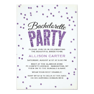 Purple Glitter Look Confetti Bachelorette Party Card