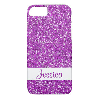 Purple Glitter Look-like With Name iPhone 8/7 Case