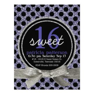 Purple Glitter Look Polka Dot Sweet 16 Party Custom Invitation