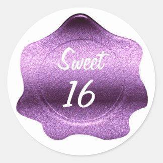 Purple Glitter Look Wax Seal Custom Sticker