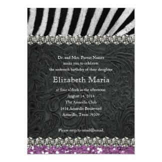 "Purple Glitter Look Zebra Sweet Sixteen Invite 5.5"" X 7.5"" Invitation Card"