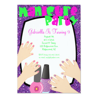 Purple Glitter Manicure Spa Birthday Party Card