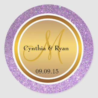 Purple Glitter & Metallic Gold Wedding Monogram Classic Round Sticker