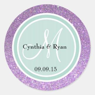 Purple Glitter & Mint Green Wedding Monogram Classic Round Sticker