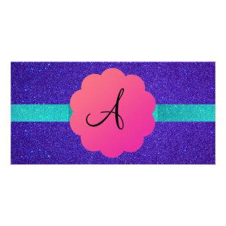 Purple glitter mongoram personalized photo card