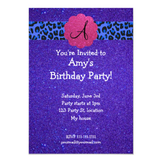 Purple glitter Monogram birthday Custom Invitation